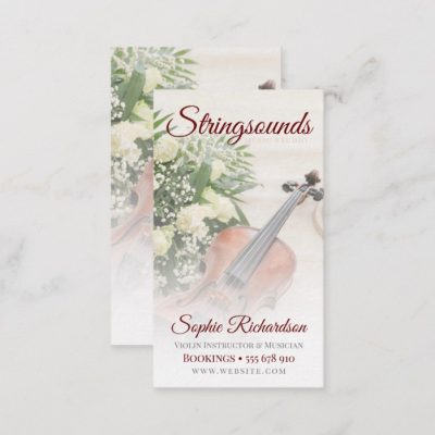 Yellow Roses Violin Musician Business card by Webgrrl | onlinecards