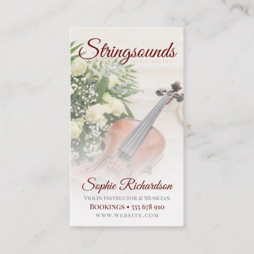 Roses Violin Musician Business card - front
