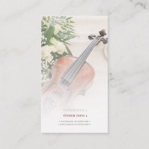 Roses Violin Musician Business card (back)