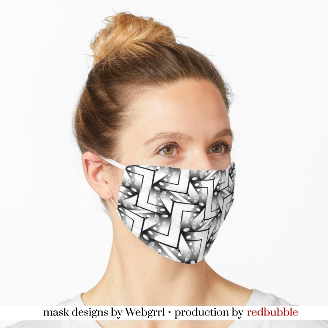 2-Tones Black and White Pattern-4 Mask • Designed by webgrrl