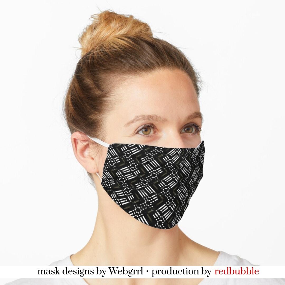 Black White Bronze Pattern Mask • Designed by webgrrl