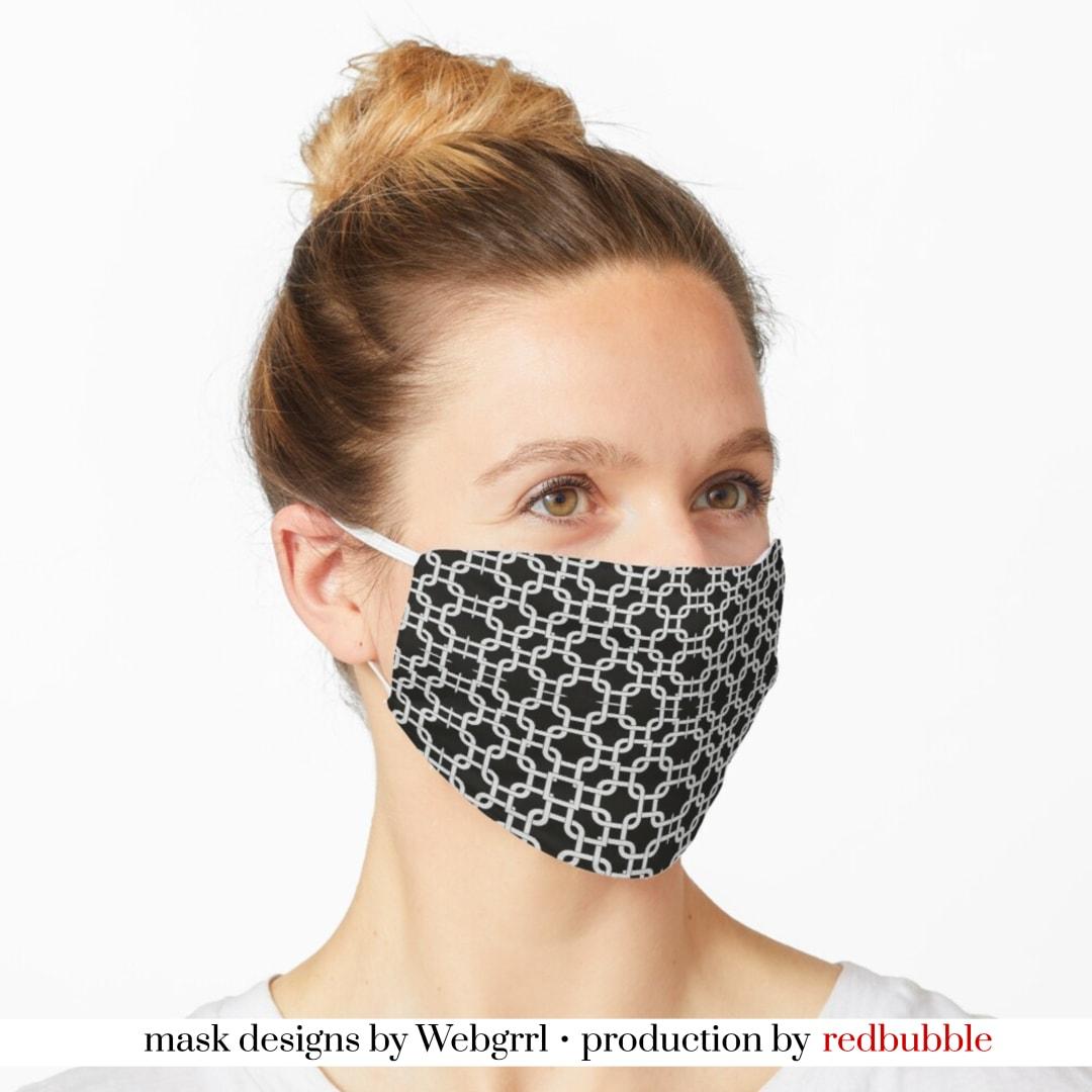 SHOP Interlock Black and White Mask • Designed by webgrrl