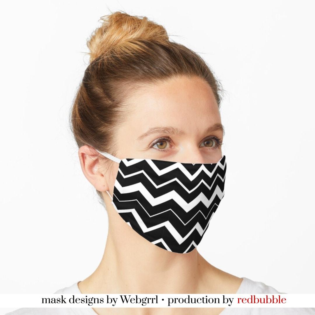 ZigZag Black White Chevron Mask • Designed by webgrrl