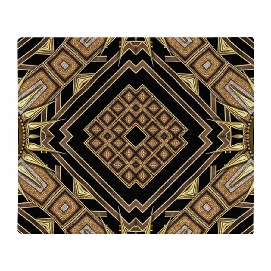 Art Deco black gold geometry throw blanket by Webgrrl