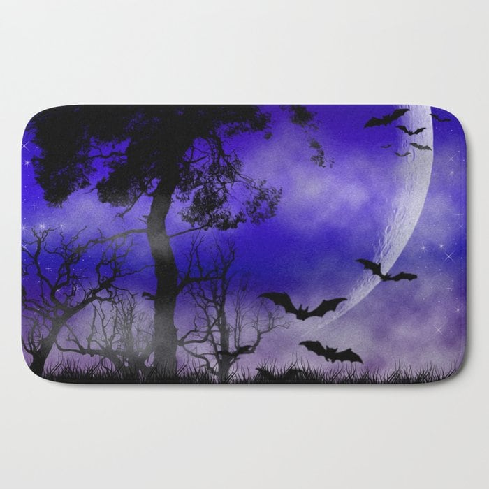 SOLD! Dark Art Silhoutte - Monster Moon Bath Mat by Webgrrl - society6