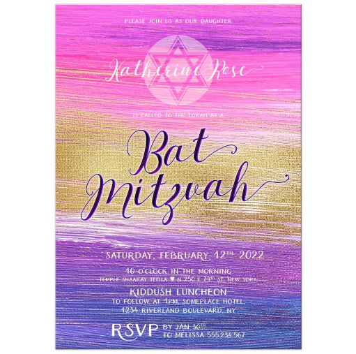 SOLD! 20x Pink Purple Ombre Gold Bat Mitzvah Invitation