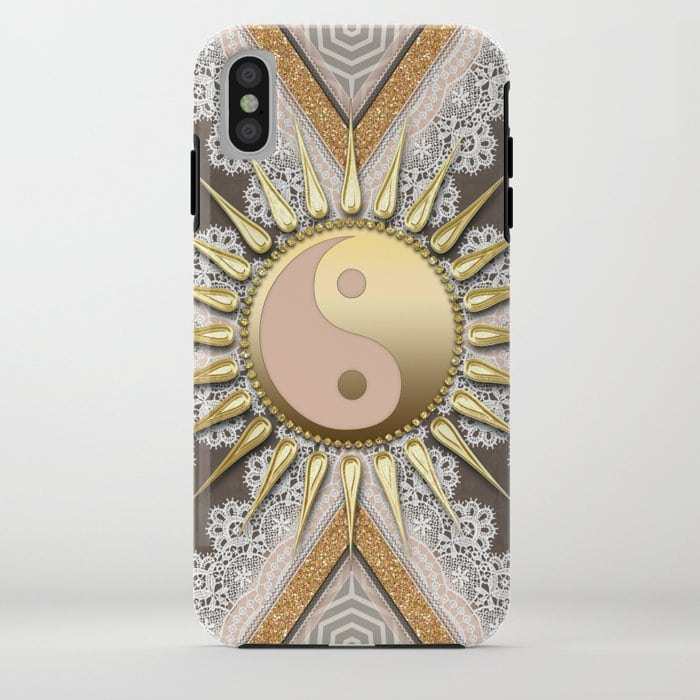 SOLD! Sunny Yin Yang Gold Lace iPhone Xs Tough Case - S6 Case