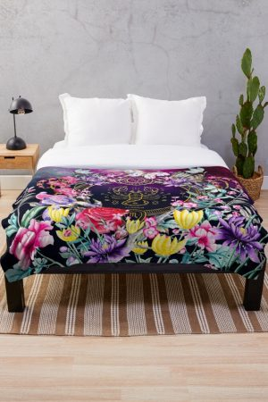 Scorpio Garden Colorful Flowers Throw Blanket Designed by webgrrl
