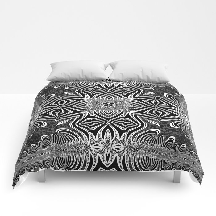 Black & White Tribal Symmetry Comforters by Webgrrl @ society6