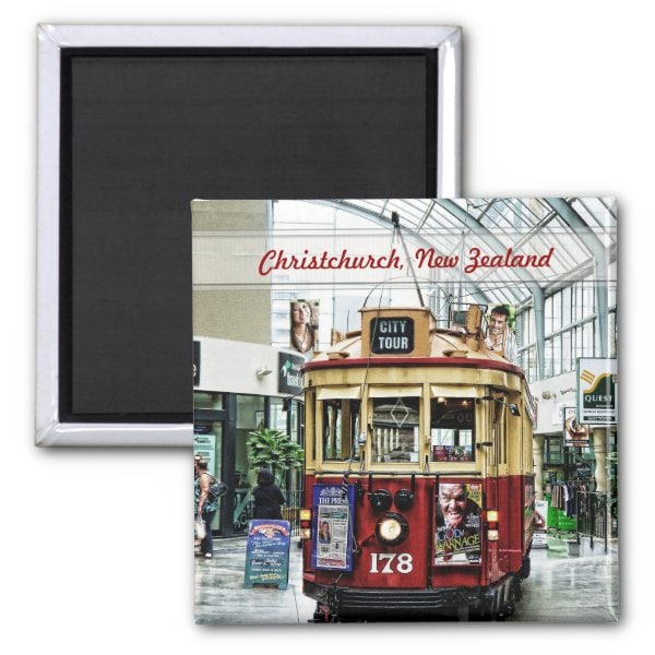 City Tour Tram Christchurch, New Zealand Magnet by webgrrl