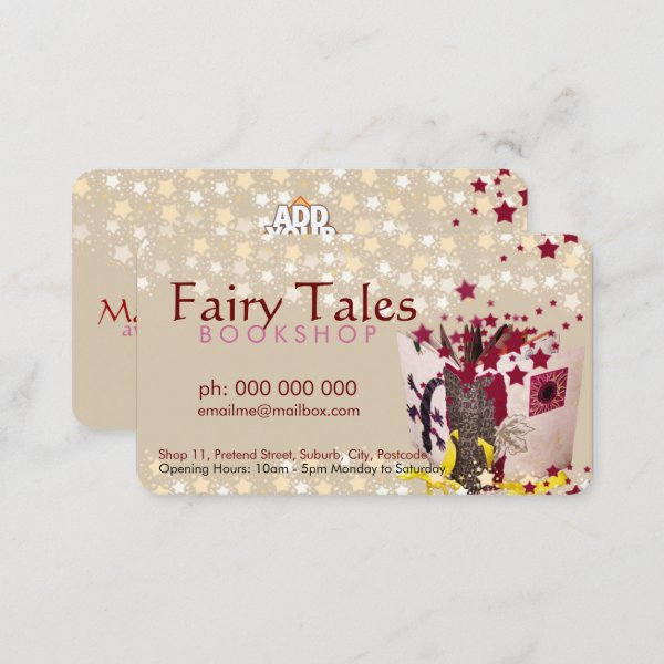 Fairy Tales & Stars Bookshop Business Card by onlinecards