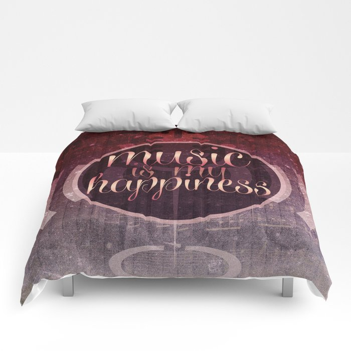music is my happiness | music theme Comforters by Webgrrl @ society6
