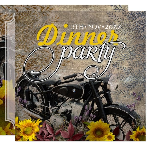 Rustic Bohemian Sunflower Motorbike Dinner Party Invitation by Paperstation