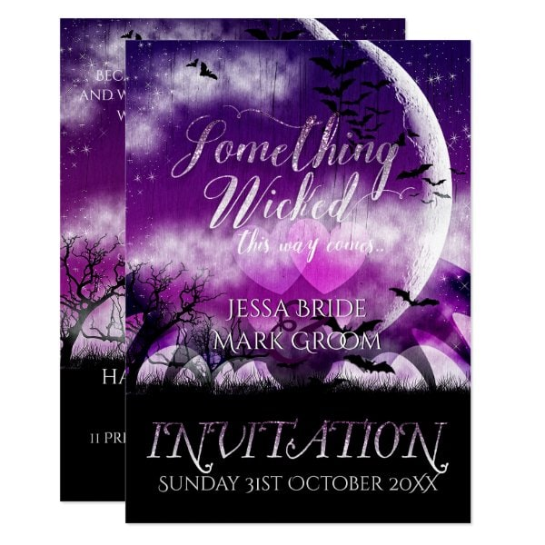 Wicked Fun Halloween Love Moon Wedding Invitation by Paperstation