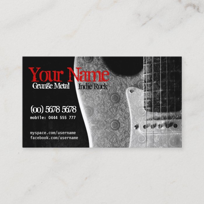 Grunge Guitar Grey/Black & Red Business Card by onlinecards