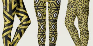 Black and Gold Geometric Pattern Leggings by Webgrrl