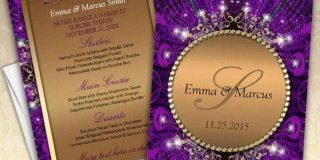 Magical Sparkle Gold+Purple Wedding Menu Card