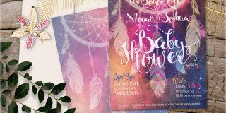 Bohemian mama - Nightsky Dreamcatcher Baby Shower Invitation